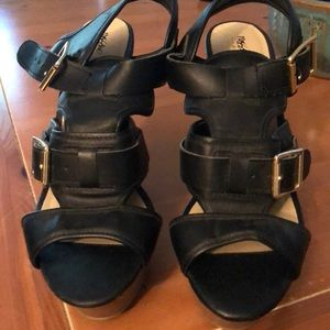 Mossimo Black heels with gold buckles.